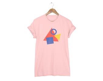Geo Memphis Triangle Fish Tee - Boyfriend Fit Crew Neck Cotton Tshirt with Rolled Cuffs in Peach and Primary Colors - Women's Size S-5XL