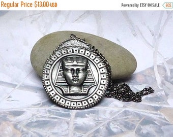 Summer Sale Vintage Signed Celebrity NY King Tut Necklace Vintage 1980 Design Walk Like an Egyptian Has a Condo Made of Stonea Pendant
