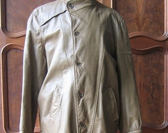 Men's Leather Jacket with Corduroy Lining