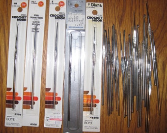 Steel Crochet Hooks Assorted Sizes Lot of 26 Free US Shipping!