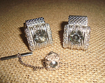 SWANK 1960s Cufflinks with Tie Tack Matching Set Silver Mesh & Clear Silver Rhinestones