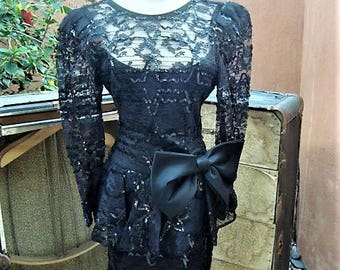 Vintage Black Lace & Sequins Peplum Top Dress Illusion Neckline by After Five Size 10