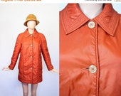 Vintage 60s Quilted Camper Coat / 1960s Burnt Orange Winter Coat / 70s Puffer Jacket / 1970s Retro Ski Jacket / Medium