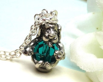 Christmas Sale Dog  Pendant Necklace Swarovski Crystal Emerald Green  Bead