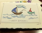 "Birthday  Man Of The Moment Boat Watercolor Original Strathmore Card 5"""" x 6 7/8"" & Envelope  Blank On The Inside betrueoriginals"