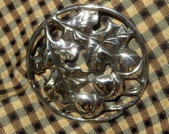 """Oak Leaves Acorns Sterling Silver Brooch Pin 925 2 1/2"""" diameter"""