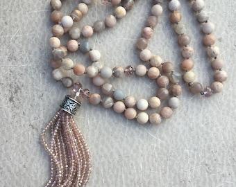 Moonstone Tassel Necklace Hand Knotted Long Bohemian Matte Moonstone Beads Beaded Tassel Boho Chic - DUNE Handmade by SplendorVendor