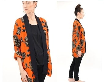 SALE vintage 90s red + black abstract CARDIGAN top S-L