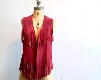 SPRING SALE vintage 70s burgundy FRINGE suede vest S-M