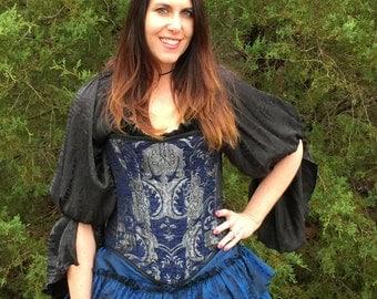 Corset, Blue and Silver  Steampunk, Renaissance, Pirate, Victorian, Fairy, Costume, Corset