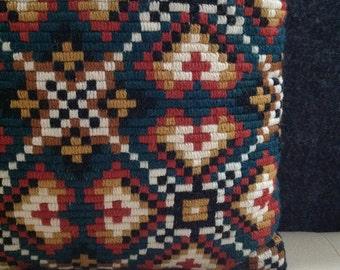 70s Geometric Embroidered Pillow Home Decore Interior Design Ethnic Cushion Bohemian Tribal