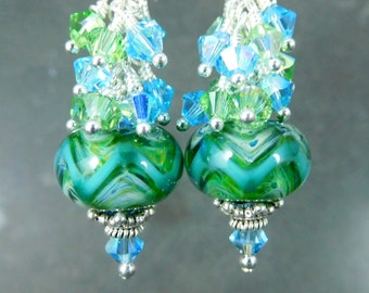 Green & Blue Chevron Stripe Glass Crystal Dangle Earrings, Boho Earrings, Boro Lampwork Earrings, Sterling Silver Earrings Sparkling Jewelry