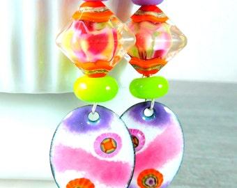Colorful Enamel & Glass Long Dangle Earrings, Orange Pink Purple Lime Green Funky Unique Earrings, Lampwork Enameled Copper, Spring Jewelry