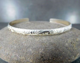 Floral Silver Cuff Bracelet Delicate 4mm Wide Sterling Silver Vine & Leaf Open Bangle Layering Everyday Jewelry Adjustable Stacking Bracelet