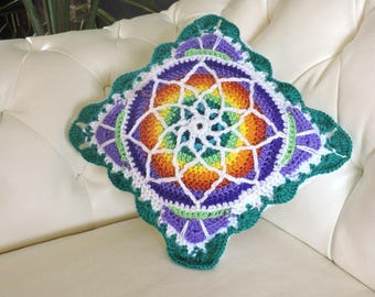 """Stained Glass crochet pillow case 12"""" Natural Yarn"""