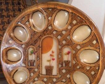 Vintage 70s Lucite Egg Plate ~ Retro Kistch Kitchen ~ Dried flowers Lattice Pattern