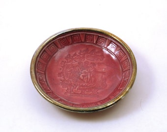The Three Graces Offering Bowl  Handmade Raku Pottery Dark Pink