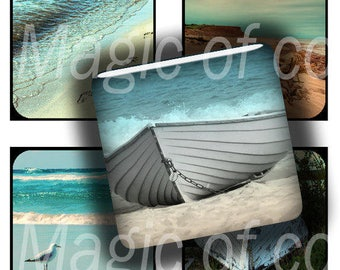 Vintage Beach - 63  1x1 Inch Square  JPG images - Digital  Collage Sheet