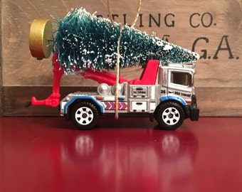 Tow Truck Carrying Christmas Tree Ornament
