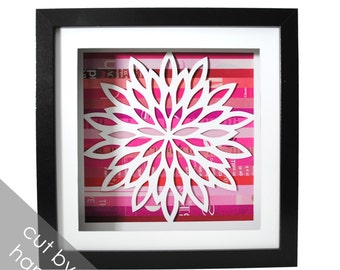 flower shadowbox- made from recycled magazines, delicate, hand cut, pink, modern decor, interior design, square, you choose your own color