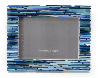 colorful BLUE 5X7 picture frame - made from recycled magazines, blue, ocean, sky, shades of blue, unique gift, home decor, interior design