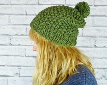 Hand knitted Bobble Hat - Luxury merino wool and silk - Green