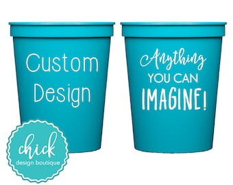 Create Your Own Custom 16 oz Cup Wedding Favors Fun Wedding Party Gifts Wedding Anniversary Party Gifts Custom Beverage Turquoise