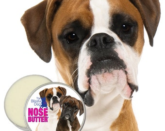 BOXER NOSE BUTTER® All Natural, Handcrafted Balm for Dry Dog Noses 16 oz Tin Your Choice of 5 Boxer Labels: Fawn, Brindle, White, Show & Duo