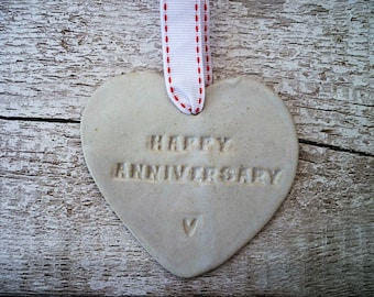 Happy Anniversary Loveheart Hanger, gift idea, pottery.