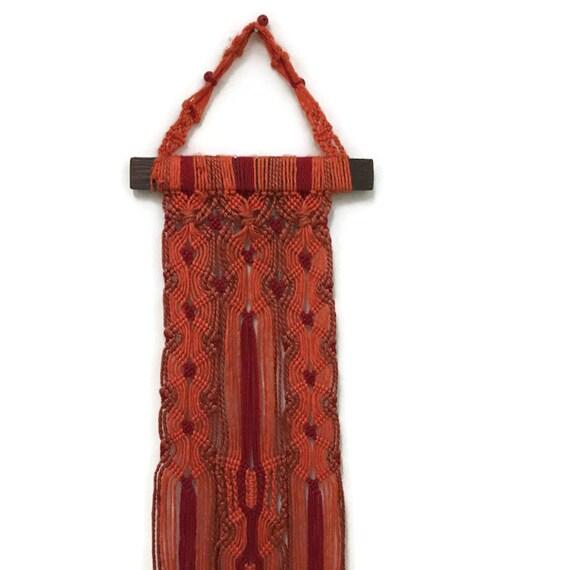 Boho Woven Wall Hanging - Long Weaving - Home Decor - Orange & Red