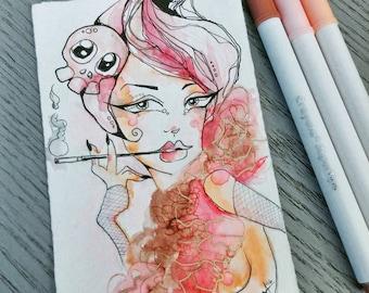 Vintage Cigarette Holder Pastel Pinup Illustration Ink and Watercolor