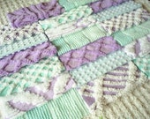 Vintage Chenille Bedspread Pre-cut Squares in Purple and Aqua-20-6 inch