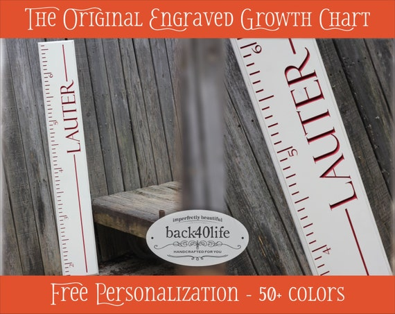 "SALE!! Engraved wood ruler growth height chart (The Stanford) - premium engraved lettering 60"" (GC-60S) children kid baby nursery"