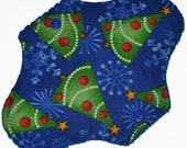Liner Hemp Core- Yule Trees Reusable Cloth Mini Pad- WindPro Fleece- 7.5 Inches (19 cm)