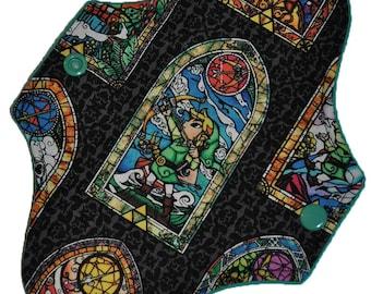 Liner Hemp Core- Legend of Zelda Stained Glass Reusable Cloth Mini Pad- WindPro Fleece- 7.5 Inches (19 cm)