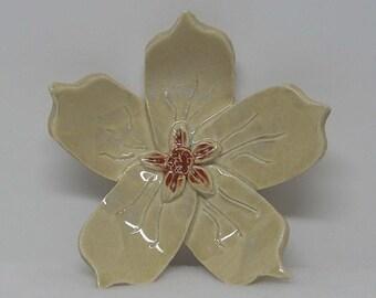 Porcelain Eggshell Handbuilt Flower Decoration or Shallow Bowl