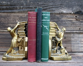 Vintage Brass Falling Books Bookends