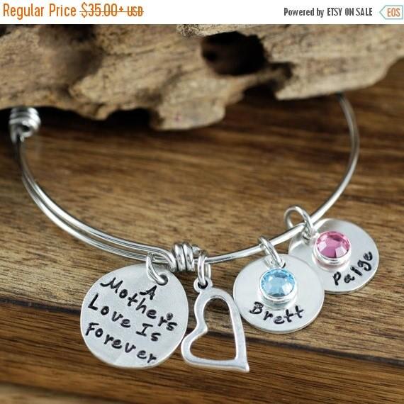 15% OFF SALE A Mother's Love is Forever, Mother's Bangle Bracelet, Silver Bangle Charm Bracelet, Name Bracelet, Mother's Day Gift, Gift for