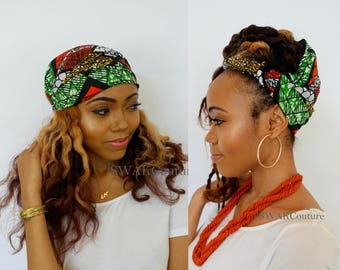 Satin Lined Wide Headband Wrap Ankara Head Wrap Pineapple Bun Wrap African Print Wrap - Santra or Choose Your Color