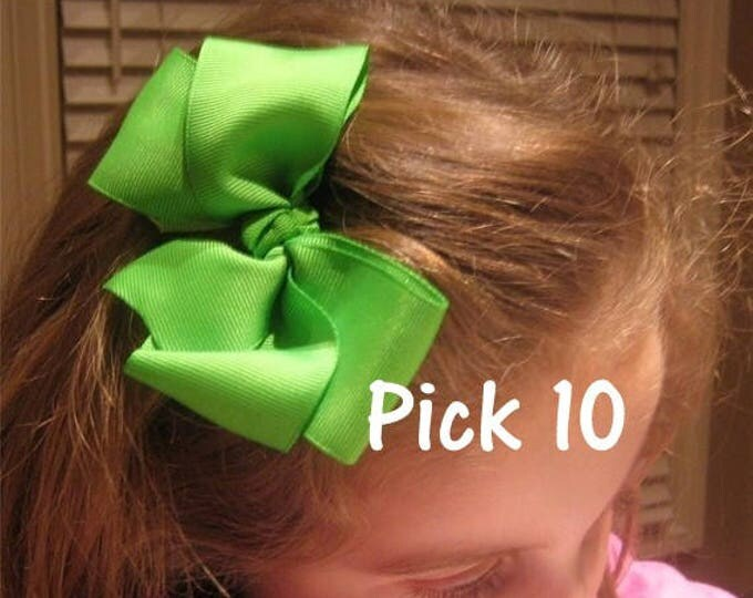 Big Boutique Hairbows, Lot SET of 10 Bows, 5 inch Hair Bows, Large CHUNKY Bows, Classic Bows, Loopy Bows, You choose colors, wholesale bows