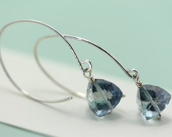 Handmade Sterling Silver Ear Wires by art4ear with Trilliant Cut Blue Quartz dangle earrings, open hoop, gift  idea for her under 30 dollars