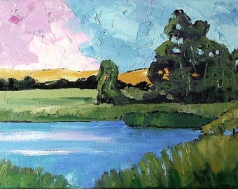 Impressionist Painting CALIFORNIA  Eucalyptus Meadow Pond Plein Air Landscape Lynne French 12x16