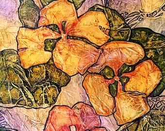 Original Painting ZEN Inspired FLORAL Watercolor On Tissue NASTURTIUMS Lynne French