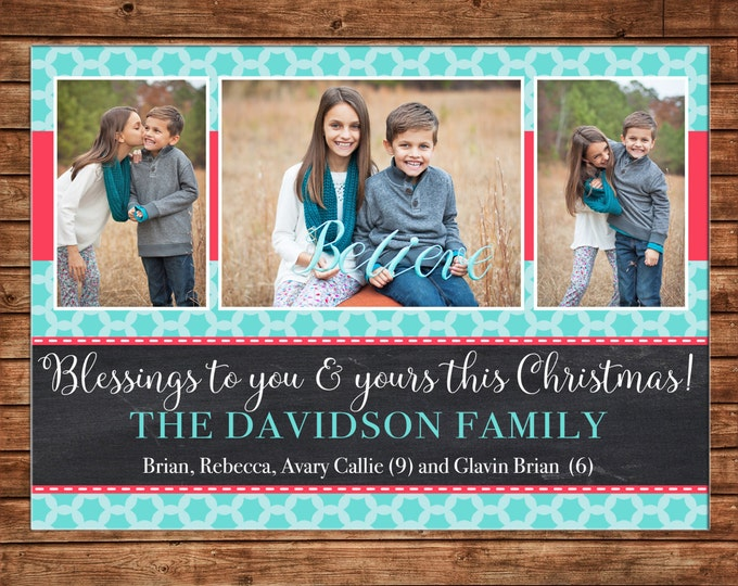 Photo Picture Christmas Holiday Card Chalkboard Chalk Turquoise Teal Coral Quatrefoil 3 photos - Digital File