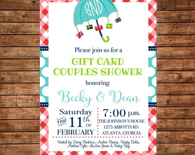 Gift Card Couples Shower Party Wedding BBQ Gingham Baby Boy Girl Invitation - DIGITAL FILE