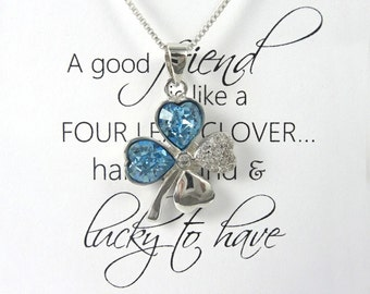 Friendship Necklace, Good Luck Charm Necklace, Clover Leaf Necklace, Best Friend Necklace, Lucky Charm, Best Friend Gift, St Patrick's Day