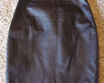 Vintage Black Leather Skirt by David Hollis, size vintage 10 medium