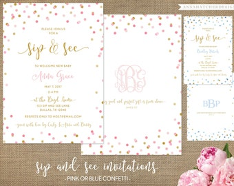 Sip and See Invitation, Pink and Gold Confetti, Blue and Gold Dots, Glitter, Monogram, Baby Girl, Baby Boy, Baby Shower, Sip n See Invite