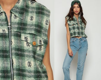 Sleeveless FLANNEL Shirt Vest 90s Green PLAID Flannel Grunge Top QUILTED 1990s Zip Up Crop Top Lumberjack Vintage Green Large