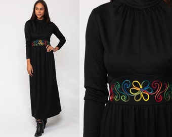 Long Black Dress 70s Maxi Dress Boho EMBROIDERED FLORAL Goth Long  Sleeve 1970s Hippie Bohemian Empire Waist Festival Vintage Small